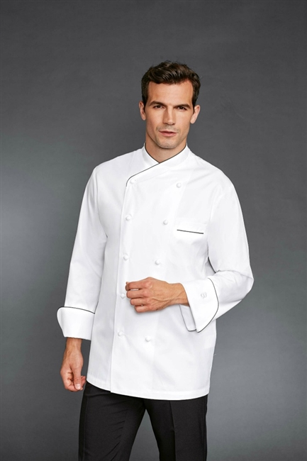 Joel Chef Jacket with Grey Piping in 100% Long Fiber Pima Premium Cotton, the finest cotton in the world!