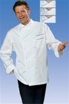 Joel Chef Jacket with green piping in 100% Long Fiber Pima Premium Cotton, the finest cotton in the world!