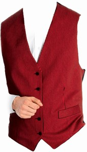 Restaurant Vest Black Red Striped