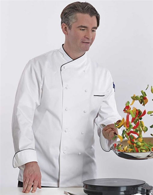 Jolione Chef Jacket white with black piping