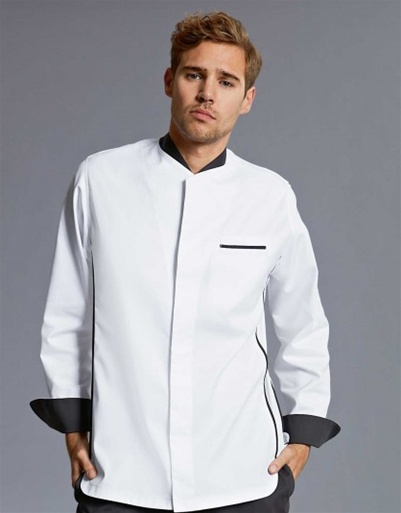 Mover Chef jacket in soft polyester/cotton stretch fabric , Contrasting dark grey trim.