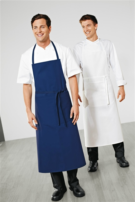 White Travel Chef Apron with Pocket